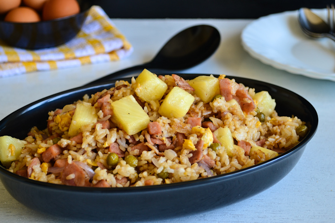 Spam Fried Rice with Bacon and Pineapple - One Chopping Board