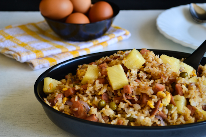 Spam Fried Rice with Bacon and Pineapple 2
